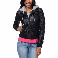 Black jacket gray hood