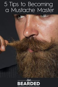 Master Your Mustache With These 5 Tips - There is an art to mastering a good mustache. How to grow it, groom it, and deal with it daily. Beards And Mustaches, Beard And Mustache Styles, Cool Mustaches, Hair And Beard Styles, Moustaches, Mustache Grooming, Beard Grooming, Beard No Mustache, Men Fashion
