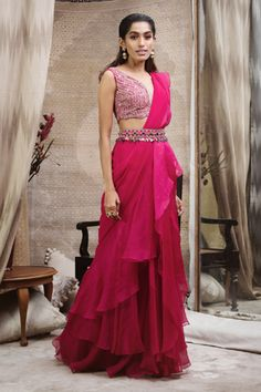 Buy Deep Pink Color Ruffle Saree by Akanksha Singh at Fresh Look Fashion Saree Wearing Styles, Saree Styles, Saree Gown, Sari, Lehenga, Dress Indian Style, Indian Dresses, Indian Outfits, Ivory Dresses