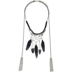 TOPSHOP Facet and Feather Necklace ($15) ❤ liked on Polyvore featuring jewelry, necklaces, jewelry-necklaces, black, feather necklace, chain necklaces, topshop, black tassel necklace and beaded tassel necklace