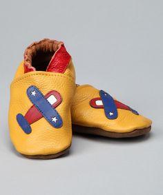 Love this Augusta Baby Marigold Airplane Leather Booties by Augusta Baby on #zulily! #zulilyfinds
