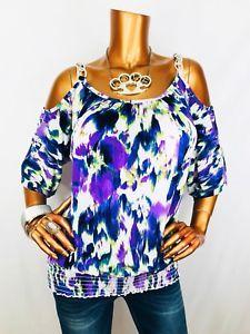 Alyx M Top Open Cold Shoulders Stretch Blouse Silver Chain Strap Shirt Dye Flora  | eBay