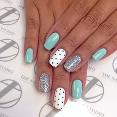 Blue, polka dot, glitter nail art