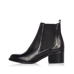Zwarte leren chelsea boots met blokhak - laarzen - schoenen / laarzen - dames