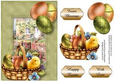 Easter Chick At The Rose Cottage on Craftsuprint designed by Anne Lever - This lovely topper features an easter chick in a basket with chocolate eggs, with a green frame and a rose cottage backdrop. It has a single layer of decoupage to add depth and three greetings to choose from. the greetings are easter blessings, happy easter and with love. - Now available for download!
