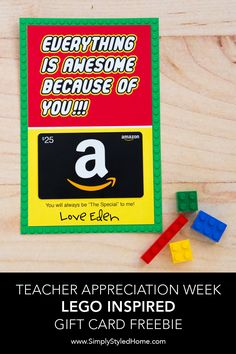 Everything you need to plan a fun and memorable teacher and staff appreciation week at your school: step-by-step instructions, printables, freebies, and more! Love Teacher, Teacher Gifts, Gift Card Bouquet, Free Lego, Teacher Appreciation Week, Employee Appreciation, Gift Card Boxes, School Gifts, School Days