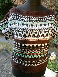 Strick-Pullover, Kurzarm, Ethno-Stil, Gr. 40-42 von Meine Strickerei auf DaWanda.com