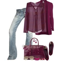 I would pair this with a black jacket instead of more purple and then this would be perfect.