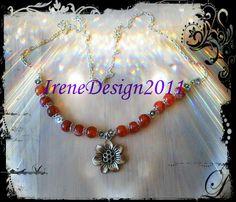 Orange Vein Agate & Flowers from IreneDesign2011 by DaWanda.com