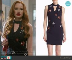 Guess Floral Embellished Dress worn by Madelaine Petsch on Riverdale Veronica Lodge Fashion, Veronica Lodge Outfits, Cheryl Blossom Riverdale, Riverdale Cheryl, Fashion Tv, Fashion Looks, Fashion Outfits, Tv Show Outfits, Girl Outfits