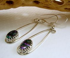 Sterling Silver and Dichroic Glass Earrings   SecondNatureDesigns - Jewelry on ArtFire