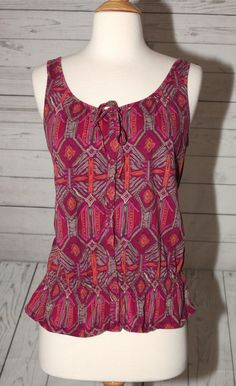 SONOMA LIFE+ STYLE SZ M (8-10) TRIBAL DRESS TOP BLOUSE SHIRT SLEEVELESS MULTI  #SonomaLifeStyle #Peplum #Casual