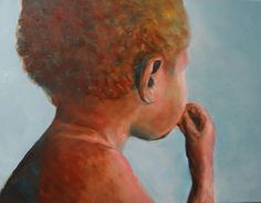 "Title ""Scared boy"" West Papua Oil on canvas  40-50cm FOR SALE"