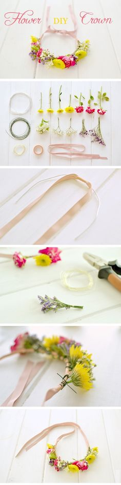 Step by Step Flower Crown with ribbon