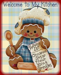 """LAMINATED FRIDGE MAGNET Gingerbread """"Welcome to My Kitchen"""""""
