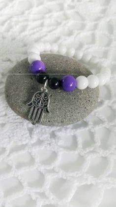Hamsa Yoga  bracelet boho jewellery jewelry white purple Byron bay universe charm Spiritual Australian made bestie friendship glass beads by HouseOfDreamers on Etsy