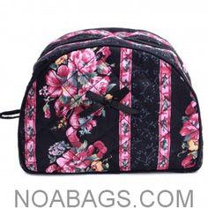 NaRaYa – Makeup & Cosmetic Floral Bag – Black & Pink