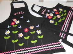 Bahar Çiçekleri Anne Kız Mutfak Önlükleri
