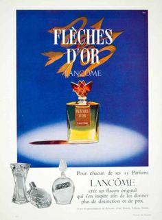 1958 Ad Fleches D'or Golden Arrows Parfum Perfume Lancome Bottle Health Beauty