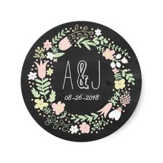 Whimsical Floral Wreath Chalkboard Monogram Classic Round Sticker