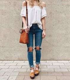 Boho blouse + distressed denim.