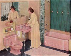 1951 American Standard Bathroom - Mid Century Interior Design - Retro Home Style 1950s Bathroom, Mid Century Bathroom, Vintage Bathrooms, Pink Bathrooms, Pastel Bathroom, Bathroom Ideas, Bathroom Designs, Turquoise Bathroom, Bathroom Art