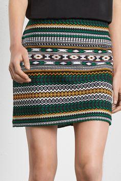 All Sale | Green Green aztec jacquard skirt | Warehouse