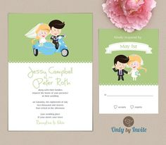 Funny wedding invitation printed | Cartoon bride and groom on scooter with a sidecar | Couple on scooter