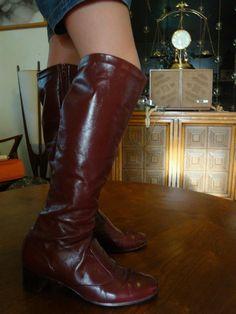 Burgundy Knee High Boots. $25.00, via Etsy.