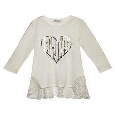 Girls' Franki & Jack Long Sleeve Lace Ruffle Tee - Ivory : Target