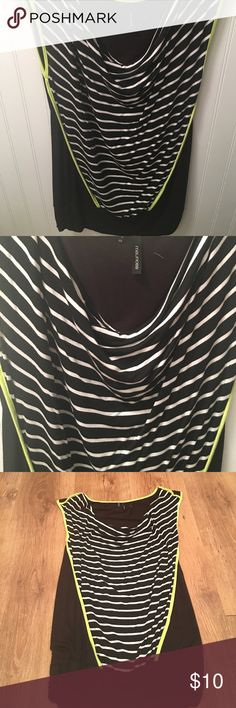 Sleeveless dress shirt Black /white trim with BRIGHT neon yellow .it is a (xs)but runs big for that size . Real soft material and came from Maurice's. Maurices Tops