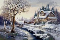 cabin christmas painting - Google Search