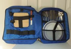 INSULATED BACKPACK PICNIC BASKET COOLER BEACH SUMMER PARTY Service for 4