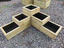 High quality large wooden garden corner 3 tiered planter decking wood oak plugs