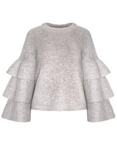 Grey Ruffled Sleeve Sweater