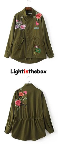 Women's Embroidery Casual/Daily Boho Trench Coat