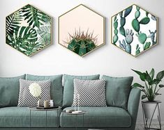 Home Hexagon Green Plant painting, Plant Framed art, Christmas gift, living room decor, gift for her, home decor, gift for women,wall art