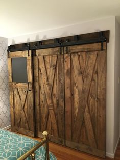 interior bypass sliding barn doors with Arrow oil rubbed bronze hardware and black nylon rollers installed by the Richmond store. - October 26 2019 at Barn Door Closet, Barn Door Track, Diy Barn Door, Diy Door, Sliding Barn Door Hardware, Sliding Doors, Sliding Wall, Rustic Hardware, Door Hinges