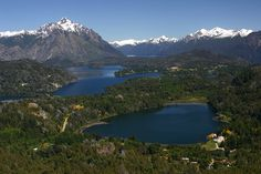 View of Argentinian Lake District and Andes Mountains from Cerro Campanario (Campanario Hill), San Carlos de Bariloche, Rio Negro Province, Patagonia, Argentina Mendoza, Lake District, Argentina Culture, Alpine Style, In Patagonia, Argentina Patagonia, Argentina Travel, Places Around The World, Beautiful Places