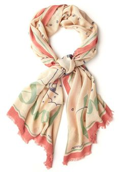 Things are Looking Uphill Scarf by Nice Things - Novelty Print, International Designer, Woven, Multi, Tan / Cream, Coral, Mint, Winter