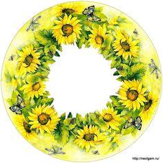 Коллекция картинок: Круглые цветочные рамочки для декупажа