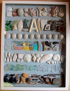 Need to make this with all the things found on the beach. Use antique frames from mom and dads graduation gift.