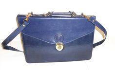 Blue Leather Document Satchel Laptop Tablet Briefcase by Pristine Shoulder Strap #Pristine #DocumentBriefcasewithShoulderStrap
