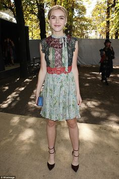Fashionista: Kiernan Shipka is already making waves in the fashion world as the Mad Men beauty pulled out another stylish look at the Valentino Spring/Summer 2016 Show during Paris Fashion Week on Tuesday