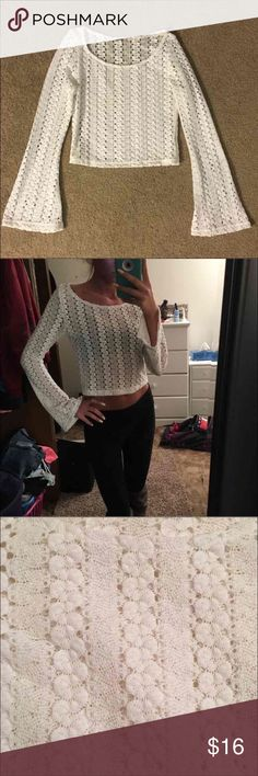 Brandy Melville Crochet Top Super cute crochet top with bell sleeves from brandy melville Size small No flaws like new    Tags lf pacsun high waisted American apparel urban outfitters sabo skirt Mura boutique tilly's lace Windsor forever 21 Charlotte Russe bm topshop boho Brandy Melville Tops Blouses