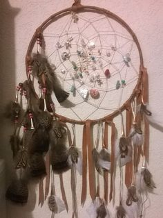 Anasazi Large Dream Catcher, 14 inches in diameter, the perfect gift for those who have everything,includes gemstones,charms,copper beads