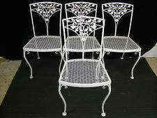 Set 4 Vintage 1950's Woodard Acorn Wrought Iron Patio Garden Dining Side Chairs