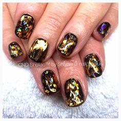Funky black and gold nails - CND Shellac and gold foils :) Cnd Nails, Cnd Shellac, Nail Art, Gold, Black, Black People, Nail Arts, Nail Art Designs, Yellow
