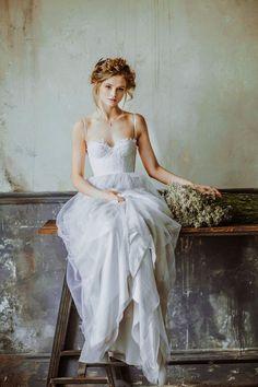 Spaghetti Straps Tulle overlay Organza Slim Lace Bodice Wedding Dress