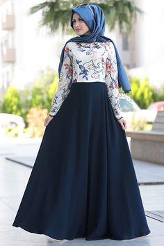 Selma Sarı Design Lacivert Nakışlı Dantel Abiye Elbise